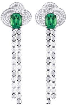Louis Vuitton 'Voyage dans le temps' Fleur d'éternité earrings and the central tourmaline surrounded by a spiralling pattern of diamonds.      Via The Jewellery Editor.