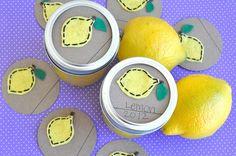 Mason Jar Gift Label: 12 LEMON Felt Regular and Wide-Mouth Mason Jar Toppers. Sew Love the Day via Etsy.