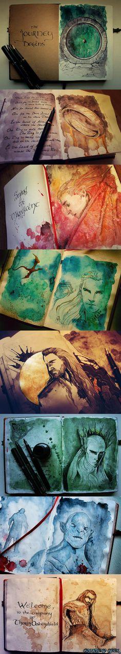 geek, fan art, artworks, hobbit artwork, lotr watercolor, art journals, the hobbit, sketchbook, lord of the rings artwork