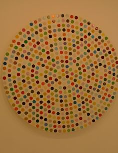"""A Damien Hirst painting of """"Spots"""" created on a circle canvas.  Gagosian Gallery, Paris."""