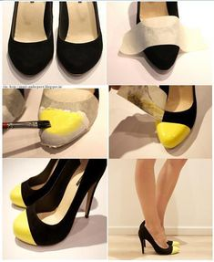 DIY: Neon cap-toe heels.  Use fabric paint - DO NOT SPRAY PAINT. When you tape up the shoes, make it a very tight, double layer so the paint doesn't bleed.