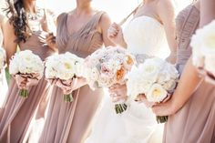 Taupe bridesmaids dresses and peach and white bouquets | photography by http://www.samuellippke.com/studio/ | wedding planning and event coordinator by http://www.aboutdetailsdetails.com/ | event design by http://whitelilacinc.com/