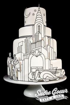 Art Deco Skyline Cake
