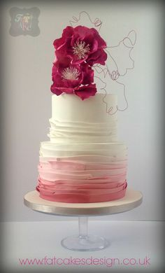 Wedding cake for this summer season. Pink ombre with bright pink wild flowers and wire design.