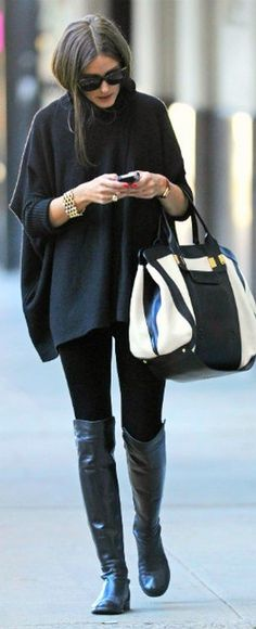 poncho, outfit, black boots, knee highs, olivia palermo