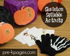Skeleton Syllable Activity for Pre-K and Kindergarten Kids.  A fun, hands-on way to practice learning syllables!