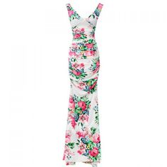 $13.36 Floral Print Ladylike Style V-Neck Sleeveless Polyester Maxi-Dress For Women