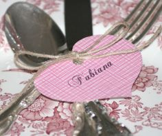 For all you DIY-ers, bust our your scrapbook paper and twine. This is an easy way to jazz up your Valentine's cutlery.