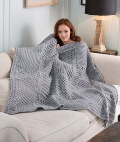 Checkerboard Textures Throw Crochet Pattern | Red Heart