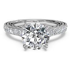 #Ritani Classic 18K White #Gold & #Diamond Semi-Mount #Engagement #Ring