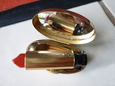 1950's Max Factor Lipstick and Case with Mirror by fifisfinds, $49.00