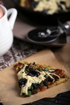 What takes this pizza to the next level? A socca crust, kale, shallots, and oil-cured olives. (Lots of vegan mozzarella doesn't hurt either) dinner, flour recip, pizza crust, pizzas, oliv, chickpea flour, caramel shallot, socca pizza, crusts