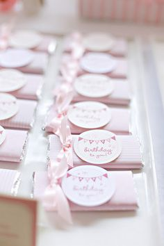 party favors, birthday parties, chocolate bars, tangled party, pink ribbons