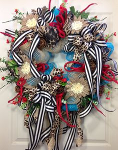 Summer Wreath, Leopard Wreath, Burlap, Turquoise, Red, Home Decor on Etsy, $125.00