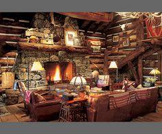 ralph lauren, living rooms, fireplac, dream, cabins