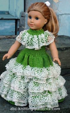 ABC Knitting Patterns - American Girl Doll Southern Belle Dress.