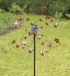 Metal Starry Circles Wind Wheel With Glow Ball