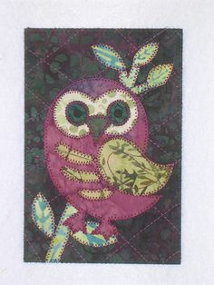 Owl in the Fall  Quilted Appliqued Fabric Postcard. $6.00, via Etsy.