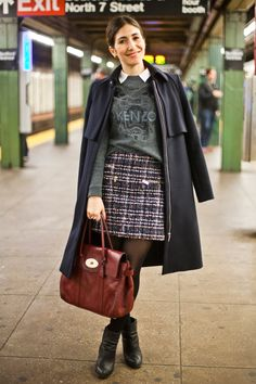 25 Snaps Of The Subway's Most Stylish Commuters #refinery29 http://www.refinery29.com/new-york-city-subway-street-style#slide18 Name: Florencia CavalloJob: Senior publicistWhat She's Wearing: Country Road top, Kenzo sweater, Zara jacket, Mulberry bag, and Saba shoes.