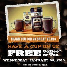 FREE Cup of Coffee and Tea on January 30 #freecoffee #freebies