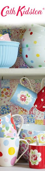 cute polka dot bowls and mugs!