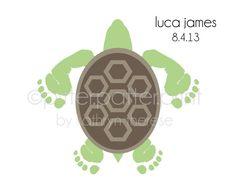 Sea Turtle Baby Footprint Nursery Art Print by PitterPatterPrint