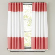 The Land of Nod | Kids Curtains: Pink and White Curtain Panels in Curtains & Hardwares