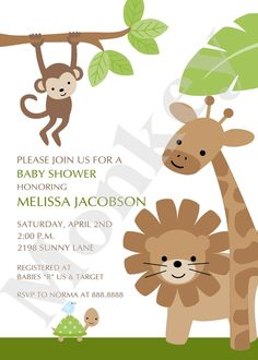 Jungle or Safari Baby Shower Invitations