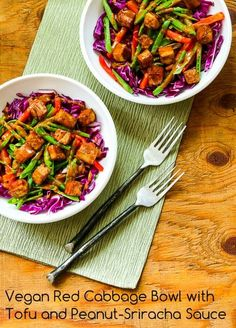 I loved this Vegan Red Cabbage Bowl with Tofu and Peanut-Sriracha Sauce; next time I will make extra sauce!  [from Kalyn's Kitchen] #MeatlessMonday #Vegan #GlutenFree
