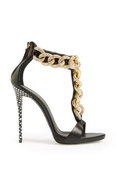 Hot! Love this Giuseppe Zanotti chain sandal.