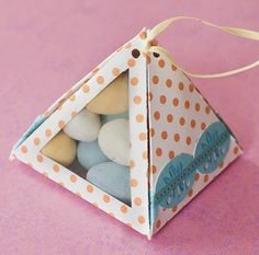 Cute little gift boxes. Follow link to free printable template. Nix the see-through window and you have a quick easy original gift wrap. (Or be fancy and do the full window and exterior flag banner)