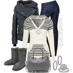 jacket, sweater, fashion, ugg boots, style, black boots, fall outfits, winter outfits, polyvore