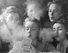 Young women's Republican club of Milford, CT. 1941. the women, nina leen, the game, poker face, young women, life magazine, playing cards, smoke, parti