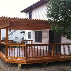 Cedar Deck And Pergola. Design Ideas, Pictures, Remodel, and Decor