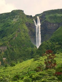 Waterfall, Fajazinha, Flores island, Azores, Portugal