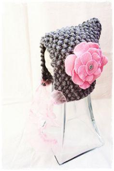 Hand knit hat baby girl newborn pixie bonnet hat by ZucchiniIsland, $25.00