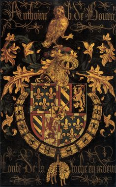 """A coat of arms is a unique heraldic design on a shield or escutcheon or on a surcoat or tabard used to cover and protect armour and to identify the wearer. Thus the term is often stated as """"coat-armour"""", because it was anciently displayed on the front of a coat of cloth. The coat of arms on an escutcheon forms the central element of the full heraldic achievement which consists of shield, supporters, crest and motto."""