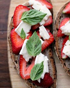 Strawberry, balsamic basil grilled cheese - serves 4-6. Ingredients: 1 loaf French bread (@Marcus Samuelsson used walnut boule), 1 quart strawberries - hulled+sliced, 12 basil leaves, 4-6 oz. brie, 8 tsp mosto cotto or reduced balsamic vinegar. Preheat oven to 350, place sandwiches on parchment-lined baking sheet and bake for 8-10 mins (flipping halfway through).