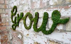 wall art, garden ideas, moss art, garden walls, green, brick, street art, house numbers, streetart