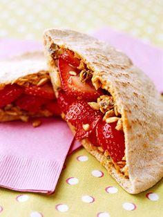 PB & Strawberry Pitas - Vegan