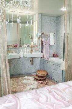 eclectic female bathroom