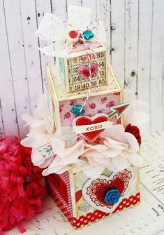 Artist Trading Blocks (ATB) by Melissa Phillips  (012814)  [Sizzix Scoreboard XL Die:  Block/Cube/Bank 3D] trade block, valentine box, artists, valentine treats, valentin box, towers, valentine day, boxes, artist trade