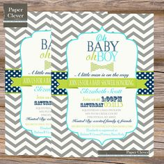 Boys baby shower invitation chevron oh boy bowtie by paperclever