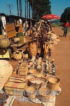 traditional craft market next to road, southern africa
