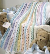 """Beary Sweet Stripes"" Afghan. Pattern from Leisure Art's Beary Sweet Baby Afghans."