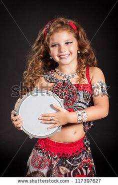 Adorable Toddler Girl Bellydancer Dancing With Drum In Traditional ...