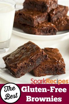 The BEST #glutenfree #brownie #recipe I've ever tried! So fudgy and moist! | via @SparkPeople #dessert #chocolate