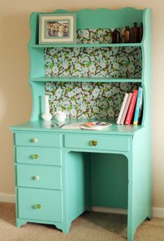 Redo Old Desk Hutch With Adorable New Potential! Teal Paint With Leftover Wallpaper On The Back Makes It Pop