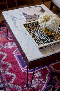 marble coffee table, rug