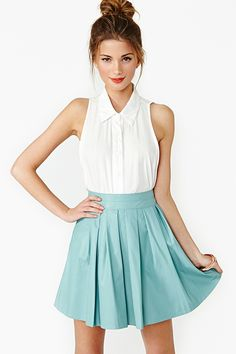 Mint skirt white top